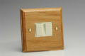 Varilight Kilnwood 2 Gang 1 or 2 Way 10A Rocker Switch Oak White Insert XK2OW
